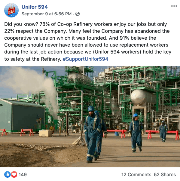 """Did you know? 78% of Co-op Refinery workers enjoy our jobs but only 22% respect the Company. Many feel the Company has abandoned the cooperative values on which it was founded."" - a recent Facebook post on the Unifor 594 page."